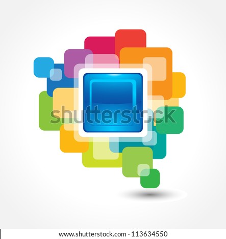 This image is an abstract button made from colorful round corner squares.