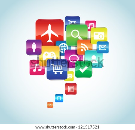 This image represents a cloud app illustration. / App