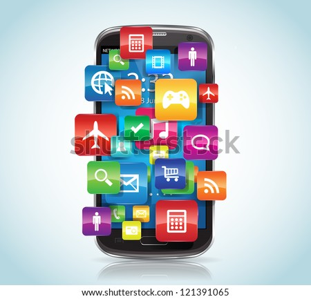 This image represents a SmartPhone with Apps. / SmartPhone