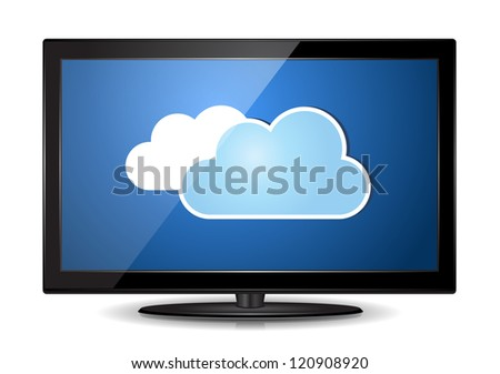 This image represents LCD TV Monitor with a cloud. / Cloud LCD TV Monitor - stock vector