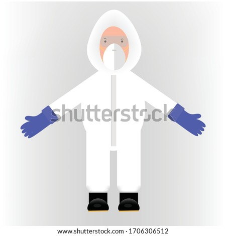This is a cartoon character wearing a cover all personal protection dress or level C dress, Safety and infection controls  concept Stok fotoğraf ©