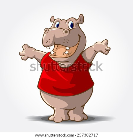 This is a Hippo Cartoon animal with red shirt, it's look like said
