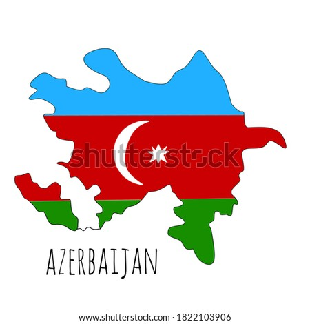 """This is a map of the country of Azerbaijan with the color motif of the Azerbaijan flag and it says """"AZERBAIJAN"""""""