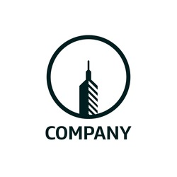 This is a monogram logo design of Pen Building Builder, the logo with simple and modern style, a building combined with a pen, as the symbol of the building architecture.