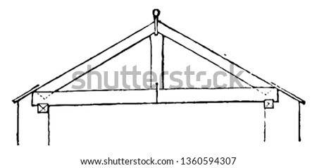 This is a representation of a shed roof over the back kitchen fuel house and privy to have rafters wall plates and ties of the same scantling vintage line drawing or engraving illustration.