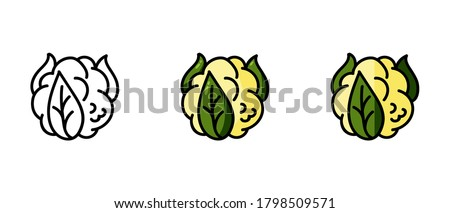 This is a set of icons with different styles of cauliflower. Contour and cauliflower symbols. Freehand drawing. Stylish solution for a website. Сток-фото ©