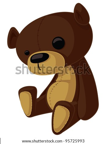 This is a vector cartoon of a Teddy Bear with wonky eyes.