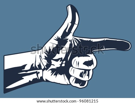 This is a vector graphic of a hand making a gun like hand gesture.