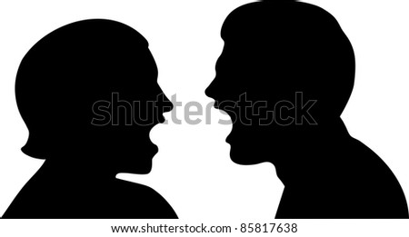 This is a vector illustration of a couple trying to work out their problems by talking about their issues. Couple talking passionately - stock vector