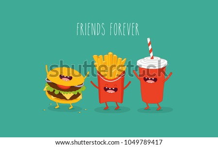 This is a vector illustration. The French fries with hamburger and cola are friends forever. You can use for cards, fridge magnets, stickers, posters.