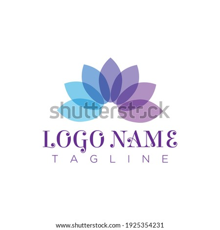 this is a yoga or meditation logo that depicts an abstract lotus flower in purple color looks calming on a white background  Foto stock ©