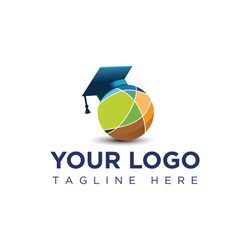this is an abstract logo of a toga hat on a globe for education-related logo