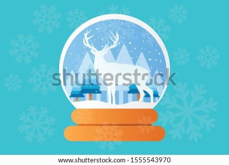 this is an elegant illustration of a deer in a snowglobe, this vector was made to welcome winter. This vector can be used as brochures, posters, stickers, t-shirt screen printing, and nice bags.