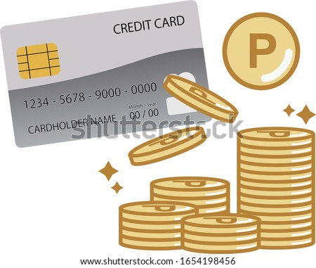 This is an illustration of credit card and points. It is an image of the points accumulated when using the card. Foto stock ©
