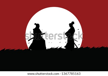 This is an illustration of the battle of two samurai in the meadow under the moonlight. This vector is usable for background t-shirt design, poster, brochure , sticker goody bag and mug.