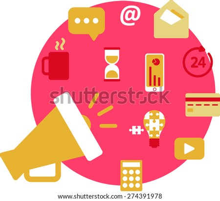 This is flat illustration of Information Technology marketing topic. It include mug, message,hourglass,phone,chart,mouthpiece,calculator,video logo,idea lamp,card,around the clock icon,mail,envelope