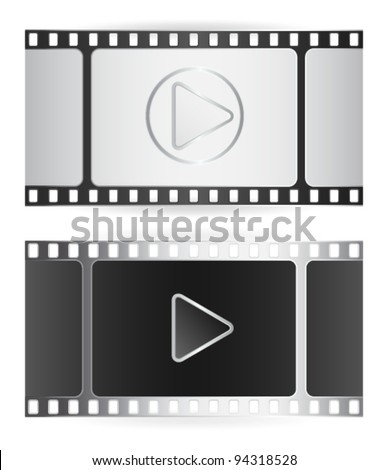 This is illustration of film strip with two color variants black and silver and play icon