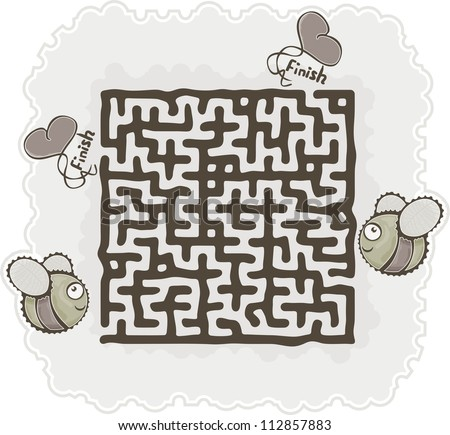 This is illustration of the maze's bee. Vector