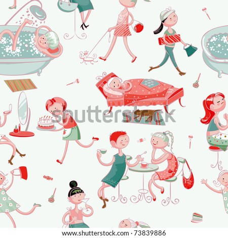 this is seamless ornamental pattern for women kids, magazines , web sites, textile industry