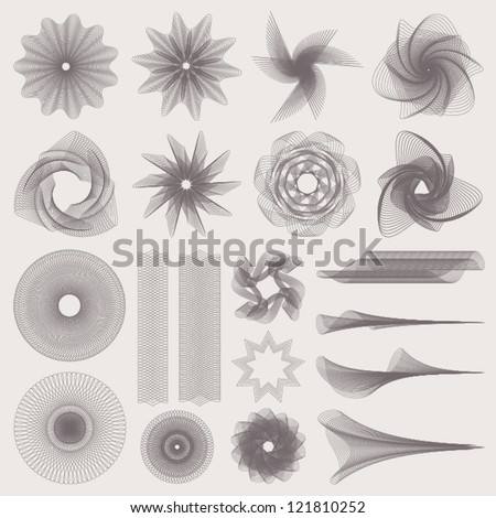 This is set of watermarks. Guilloche vector pattern for banknote, diploma, certificate, note, currency, voucher or money design. EPS 8