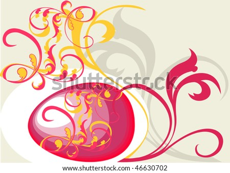 This is the Easter egg with the national Russian ornament - stock vector