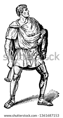 This is the image of A Roman Slinger. A projectile weapon used to launch a blunt projectile, vintage line drawing or engraving illustration.