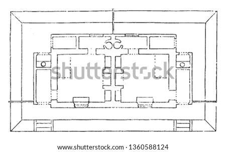 This is the representation of the accommodation plan for the design LIX. The kitchen back kitchen lobby poultry privy etc. is shown vintage line drawing or engraving illustration.