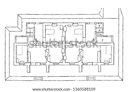 This is the representation of the accommodation plan for the design LX. The kitchen privy pantry closet bed room parlor etc. is marked vintage line drawing or engraving illustration.