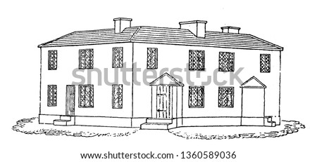 This is the representation of the design XLI. The six dwellings are ranged around a open yard which has a privy a well a wash house a bake house etc.