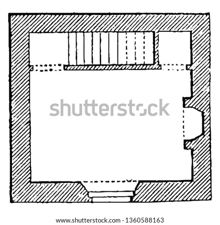 This is the representation of the ground plan of the design LVI. The entrance rooms poultry privy stair case cellar etc. is shown vintage line drawing or engraving illustration.