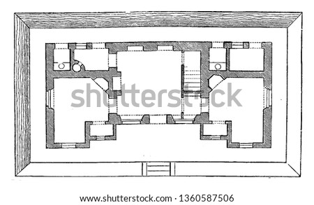 This is the representation of the ground plan of the design LXVIII. The kitchen living room bed room privy etc. is shown vintage line drawing or engraving illustration.
