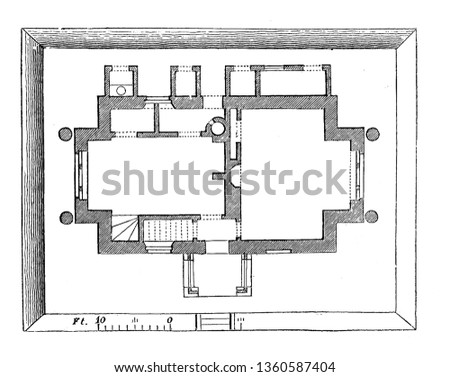 This is the representation of the ground plan of the design LXXIII. The kitchen closet parlor cup board rooms place for fuel privy etc. is shown vintage line drawing or engraving illustration.