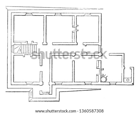 This is the representation of the ground plan of the design LXXVI. The kitchen dining parlor breakfast room bed room wash house privy is shown vintage line drawing or engraving illustration.