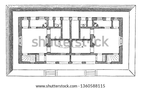 This is the representation showing the ground plan for the design LVII. The privy root cellar kitchen parlor pantry is shown vintage line drawing or engraving illustration.