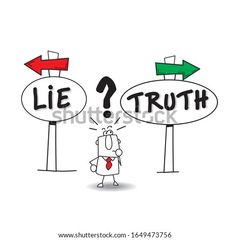 This man don't know. should he lie or should he tell the truth? That his the question... ストックフォト ©