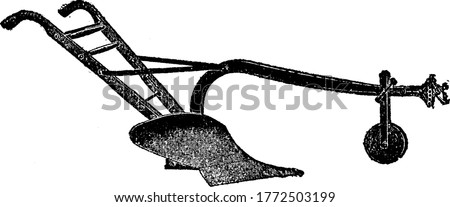 This plow is made up of steel material having two small wheels in front for moving and a steel blade in the bottom, vintage line drawing or engraving illustration.