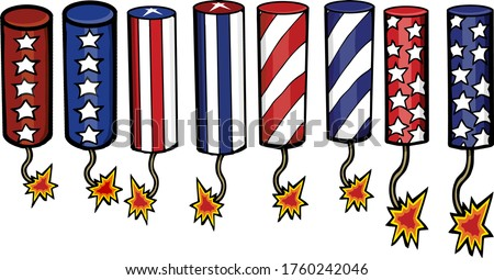 This set features a variety of firecrackers great for any indepedence day project. Stock photo ©