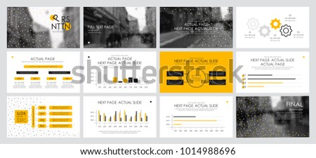This template is the best as a business presentation, used in marketing and advertising, flyer and banner, the annual report. Yellow and black elements on a dark grey background  #1014988696