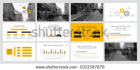 This template is the best as a business presentation, used in marketing and advertising, flyer and banner, the annual report. Yellow and black elements on a dark grey background #1022587870
