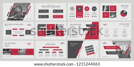 This template is the best as a business presentation, used in marketing and advertising, flyer and banner, the annual report. Dark grey, red and black elements on a dark grey background