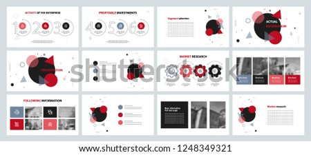 This template is the best as a business presentation, used in marketing and advertising, flyer and banner, the annual report. Grey, red and black elements on a dark grey background  #1248349321