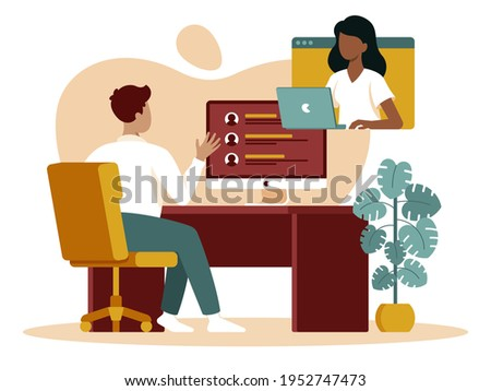 This vector illustration depicts an online interview, young man chatting to an employer via video chat  Foto d'archivio ©