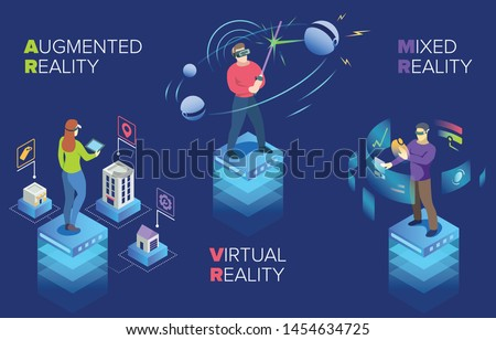 This vector illustration depicts young people and their interaction with augmented reality, virtual reality, mixed reality