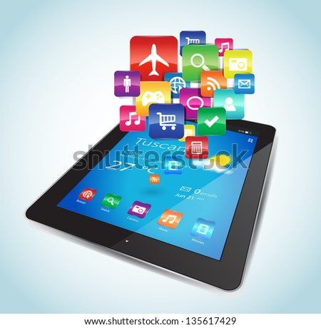 This vector image represents a Tablet with Apps icons.