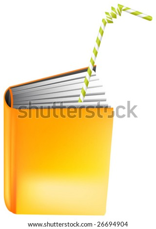 This vector picture represents a concept of book to drink (read) all in one go