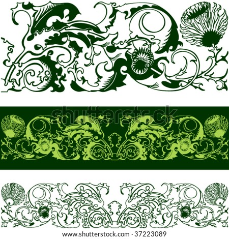 tattoo. thistle. vector. victorian