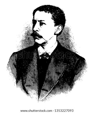 Thomas Bailey Aldrich, 1837-1907, he was an American writer, poet, critic, and editor, famous for his work in stories of bad boy, vintage line drawing or engraving illustration