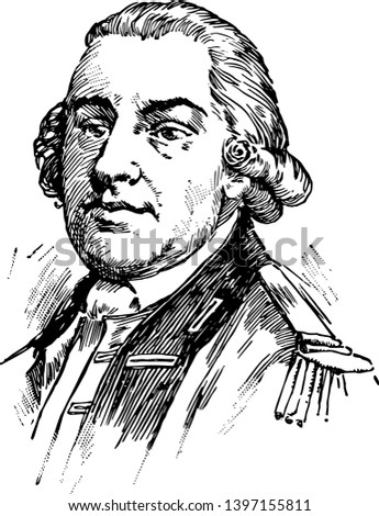 Thomas Gage 1719 to 1787 he was a British army officer and military commander famous for his many years of service in North America vintage line drawing or engraving illustration