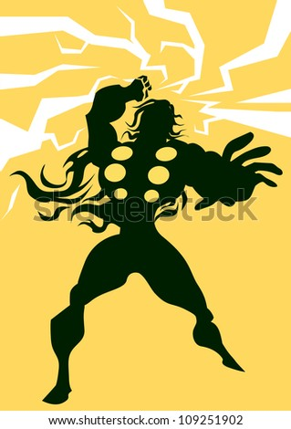 thor  black silhouette of a man