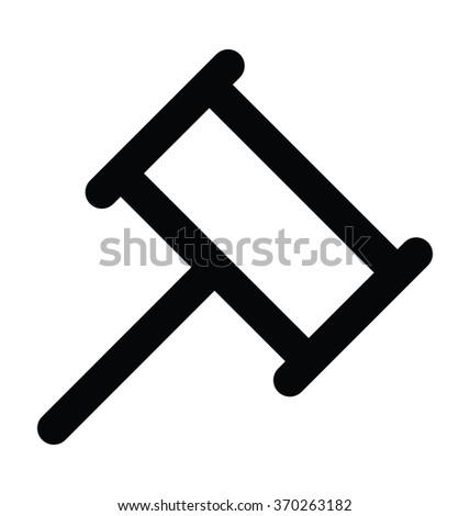 thor hammer bold line vector
